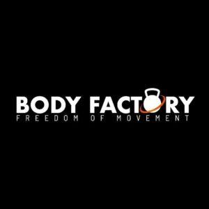 logo palestra Body Factory nero e scritta bianca